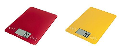 Escali Arti Glass Kitchen Scale 15 Lb  7 Kg - Retro Red and Solar Yellow Set of 2