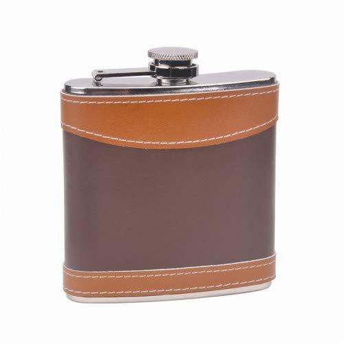 6oz 2-tone Leather Hip Flask Custom Laser Engraved