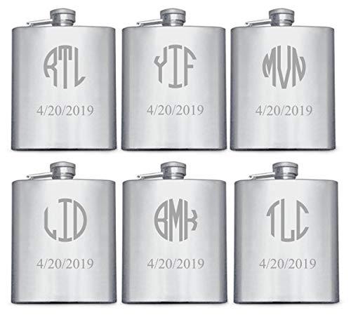 Personalized Engraved Flask Set of 6 Custom Engraved Flask Engraved Wedding Flask Engraved Hip Flask Groomsmen Flasks Silver Circle Monogram