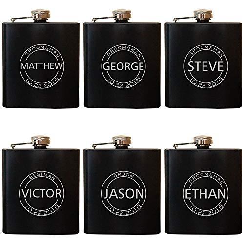 Groomsmen Flask Set for Weddings Best Man Flask-Groomsmen Flask- Bachelor Party Groomsman Personalized Wedding Flask