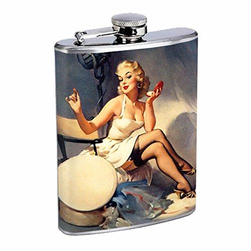 Vintage Retro Sexy Bridesmaid Party Flask 8oz Pin Up Girl-137