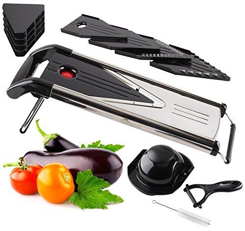 Chef Grids V Blade Mandoline Slicer Stainless Steel Food Slicer  Dicing Julienne Cutting Vegetable and Fruit slicer Foldable Feet For Sturdy Use  Bonus Peeler Cleaning Brush