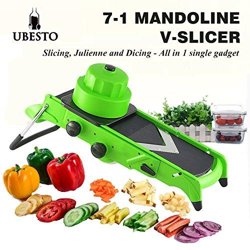 Mandoline Slicer – Adjustable Mandolin Food Slicer with Stainless Steel Blades - 7-in-1 Functions for Slicing Dicing Cubing and Julienne Fruit Slicer Vegetable V Slicer - Christmas Deals