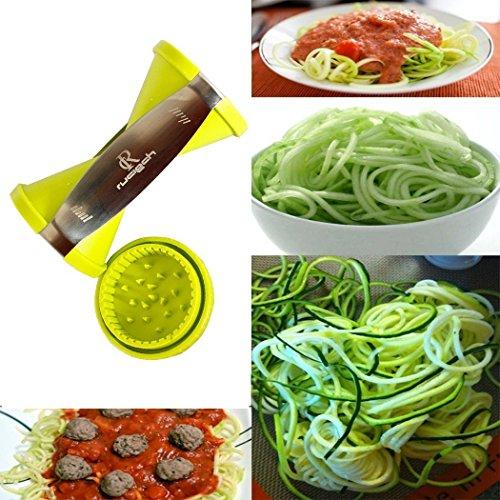 RC Zucchini and Carrot Veggie Pasta Spaghetti Maker Vegetable Spiralizer Spiral Slicer Cutter for Carrots Zucchini Cucumber Radish Turnips Sweet Potatoes Green