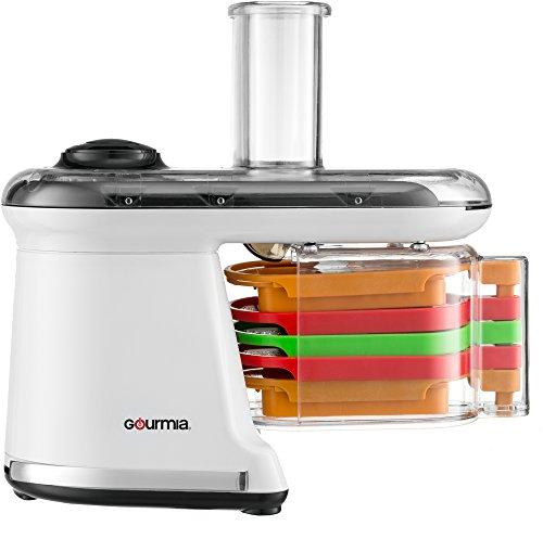 Gourmia GMS100 Power Dicer Plus Multi-Purpose 5 in 1 Electric Mandoline Food Dicer Chopper Slicer Grater and Shredder - Includes 5 Blades