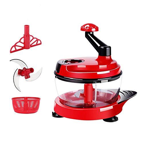 HONGJING Manual Food Processor Hand Powered Chopper Multi Vegetable Chopper Meat Grinder Food Mixer Blender Manual Food Chopper Hand Held DicerMincerSpiral Slicer