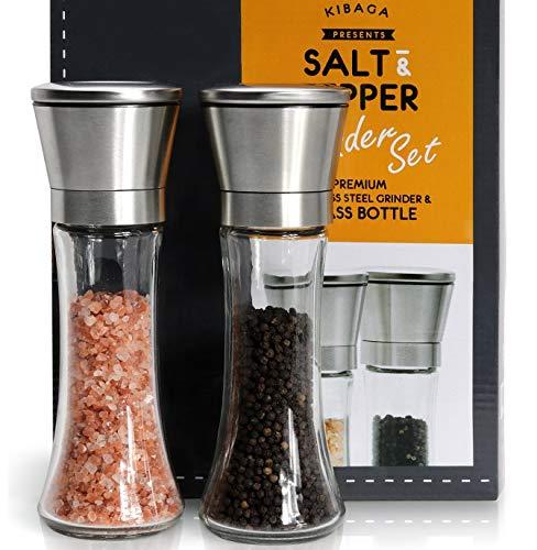 Elegant Salt And Pepper Grinder Set Of 2 - Premium Stainless Steel Pepper Grinder - Enjoy Your Favorite Spices Fresh Ground Pepper Himalayan Or Sea Salts
