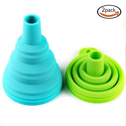 Lingdun 2pcs Multi-Purpose Mini Silicone Collapsible Funnel Funnel food Foldable Funnel for Liquid Transfer 100 Food Grade Silicone Folding Funnel Random Delivery