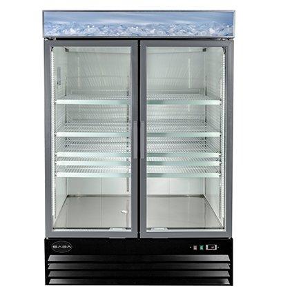 Saba Air SGDM-45F Two 2 Glass Door Reach In Merchandiser Freezer Swing Door