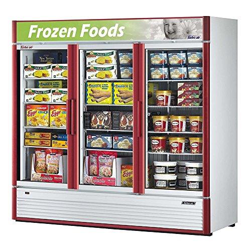 Turbo Air TGF-72SD Glass Swing Door Three Section Reach-In Merchandiser Freezer
