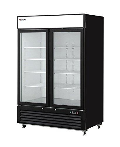 Vortex Refrigeration Commercial 2 Glass Door Black Merchandiser Freezer - 45 Cu Ft