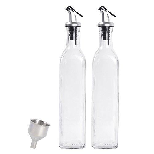 17OZ Oil and Vinegar Dispenser Salad Dressing Cruet Glass Bottle Olive Oil Bottles Dispenser Glass Oil Bottle Coconut Oil bottle Set Of -2 With 1 Stainless Steel Funnel