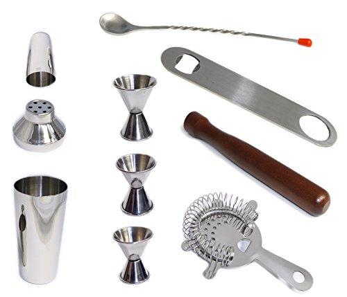 10 Piece Bar Tool Set Including Cocktail Shaker Mudler Bar Strainer Bar Spoon Jiggers and Bottle Opener