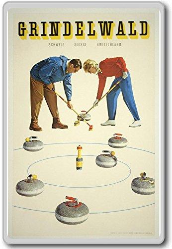 Grindelwald Schweiz Suisse Switzerland Curling Vintage Fridge Magnet
