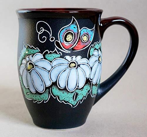Camomile large tea mug 16oz Flowers Handmade rustic ceramic coffee cup Gift for mom wife