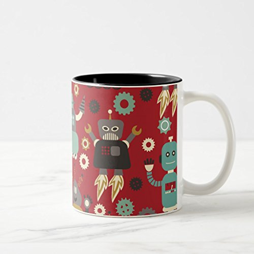 Zazzle Fun Retro Robots Illustrated Pattern red Coffee Mug Black Two-Tone Mug 11 oz