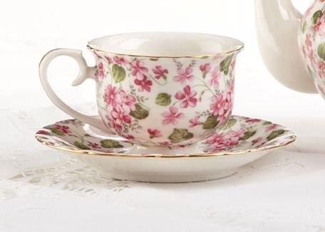 28 Porcelain Tea CupSaucer Pink Phlox