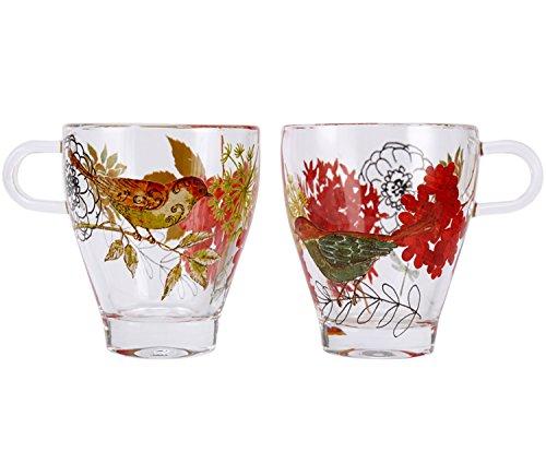 Coffee Glass Mug Set Funny Cute Porcelain Tea Cup 7oz Flower and Bird by CYPRESS