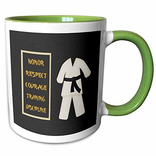 3dRose Beverly Turner Sports Design - Karate Karategi Uniform Black Belt Honor Respect Courage Train Discipline - 11oz Two-Tone Green Mug mug_180798_7