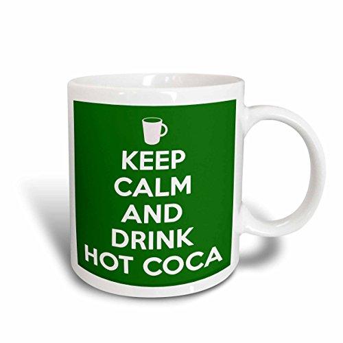 3dRose mug_194317_1 Keep Calm and Drink Hot Cocoa Green Ceramic Mug 11-Ounce