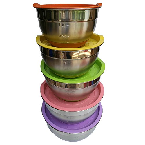 Hexun 5 Piece Stainless Steel Mixing Bowl Set with Colorful Lids Non Slip Colorful Silicone Bottoms with Thickening and Volume Measurements Salad BowlsEgg Beating Bowls Thickening Colorful