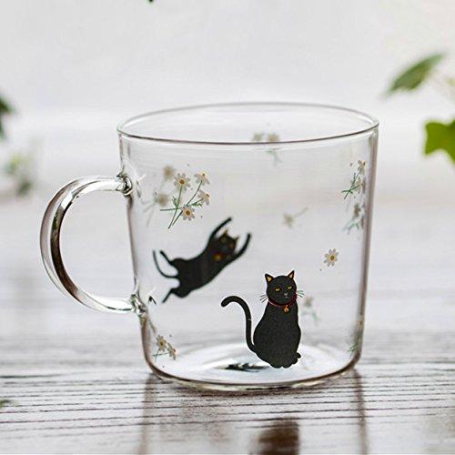 Fiesta Creative Killer Whale Glass Coffee Mug 350ml Cute Tea Mug Polar Bear Tea Cup Heat Resistant Glass Coffee Cup Beer Mug Black Cat 300ml