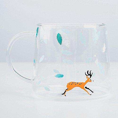 Fiesta Creative Killer Whale Glass Coffee Mug 350ml Cute Tea Mug Polar Bear Tea Cup Heat Resistant Glass Coffee Cup Beer Mug Elk 320ml