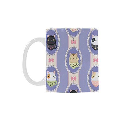 InterestPrint Cute Tea Mug Neko Cats Travel Mug Coffee Cup 11 Oz Novelty Gift For Magical Occasions For Boys Girls Friends Loves