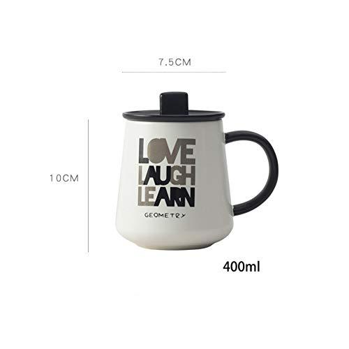 SHUIBEIHHY Geometric Pattern Ceramic Mug with lid SpoonWholesale Office Mugs Couple Cups Cartoon Cute Tea Mug Drinkware Cup