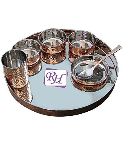 Copper Stainless Steel Dinner Set Thali 1 PLATE  3 GRAVY BOWL 1 RICE BOWL  1 GLASS 1 SPOON
