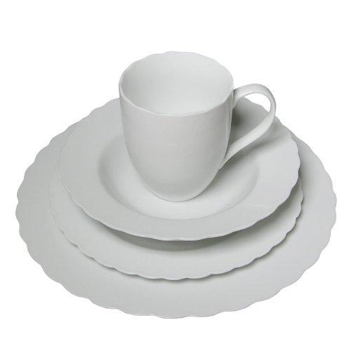 16 Piece Pure White High-Fire Porcelain Dinnerware Set Floral Ridge