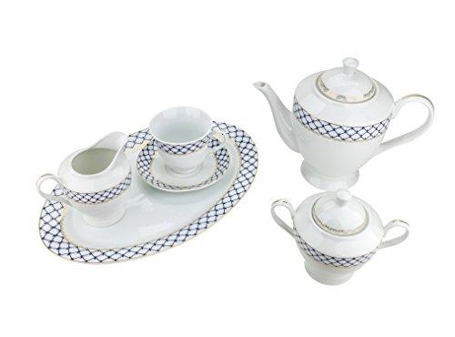 Majestic Porcelain 49-Piece Dinner Set Gold-Plated Blue Cobalt Net Place Setting White Porcelain Dinnerware Set Service for 8