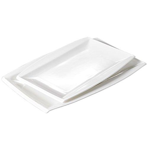 Malacasa Series Blance 2-Piece Ivory White Porcelain Dinnerware Set 11 1325 Rectangular Plates Serving Platters
