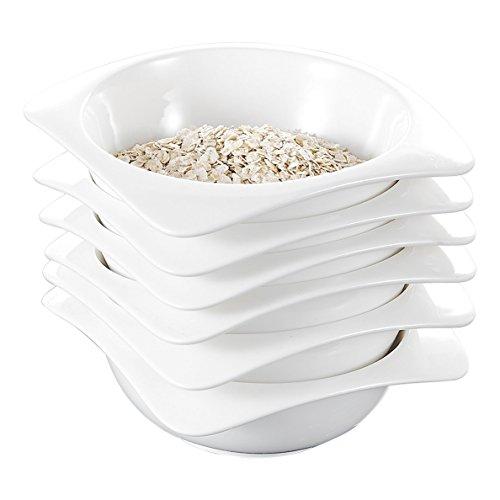 Malacasa Series Rosana 6-Piece 55 12oz Ivory White Porcelain Dinnerware Bowl Set Ceramic Cream White Cereal Bowls 14x14x5cm