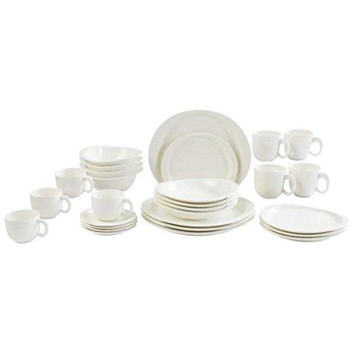 Nikita CHDW28 28Pc White Porcelain Dinnerware Set