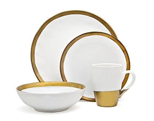 Godinger Silver Art 4-piece Terre Dor White And Gold Porcelain Dining Dinner Dinnerware Set