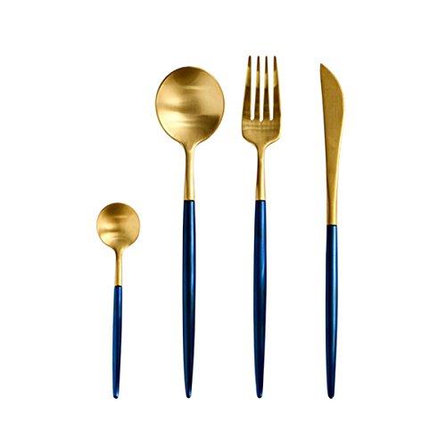 Harleya 4PCSSet 24K Gold Bule Dinnerware Flatware Set Stainless Steel Tableware Fork Spoon Knife