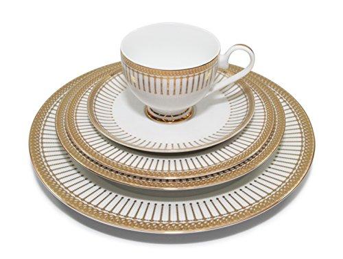 Royalty Porcelain Baroque 5pc White Gold Dinnerware Set 24K Gold-Plated Service for 1 Bavarian Germany Design Porcelain