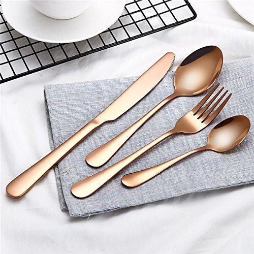 Silverware Set - Flatware Set - Gold Dinnerware Set Stainless Steel Cutlery Set 4 Pieces Black Knife Fork Set Tableware Gold Silver Cutleries Western Food Set - Utensil Set - Rose Gold