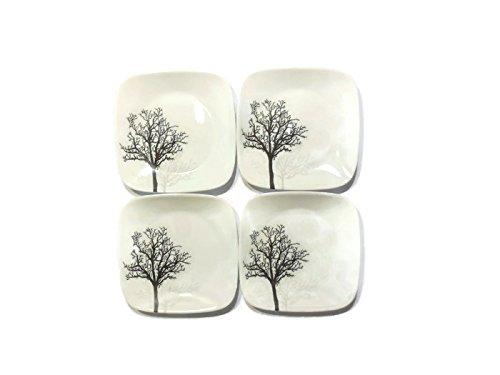 "Corelle Dinnerware Dessert Plates Set Square Timber Shadows 65"" perfect size for dessert Set of 4"