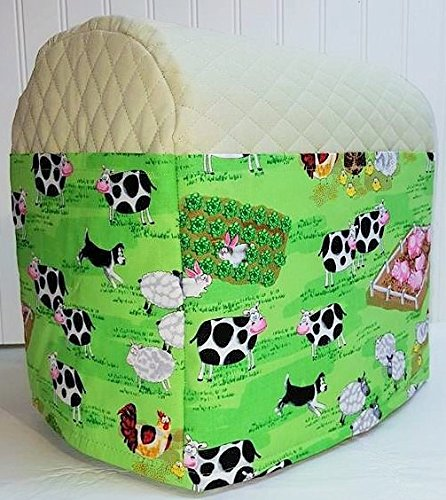 Quilted Farm Animals Kitchenaid Tilt Head Stand Mixer Cover Sage Green
