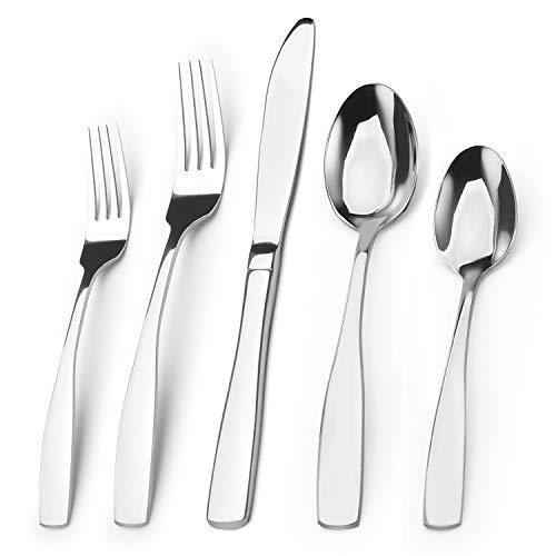 Silverware Set Bysta 20-Piece Stainless Steel Flatware Set Kitchen Utensil Set Service for 4 Tableware Cutlery Set for Home and Restaurant Mirror Finish Dishwasher Safe