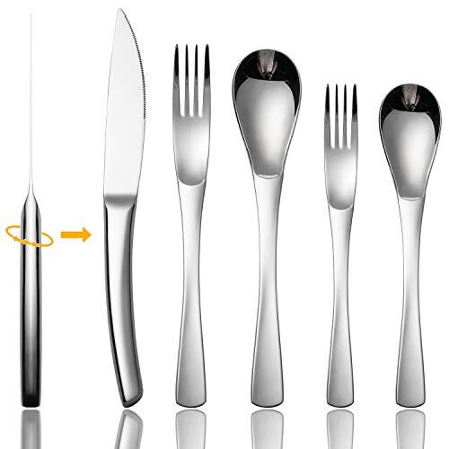 Silverware Set Flatware Set 20 Piece Stainless Steel Cutlery Shiny Dark Utensil Tableware Sets Include Gunmetal Knife Fork Spoon for Kitchen Service for 4 No Matte Dishwasher Safe