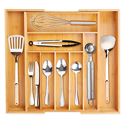 VSADEY Kitchen Drawer Organizer Bamboo Expandable Utensil Silverware Organizer 9 Compartments Compact Cutlery Tray Organizer Holder for Kitchen Utensils Flatware and Silverware