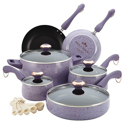 Paula Deen Signature Porcelain Nonstick 15-Piece Cookware Set Lavender Speckle