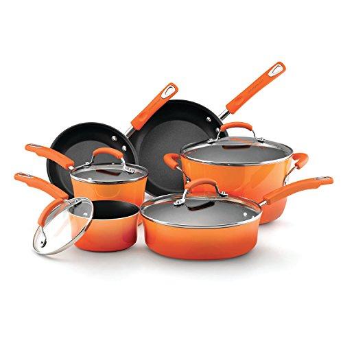 Rachael Ray Hard Enamel Nonstick 10-Piece Cookware Set Orange Gradient
