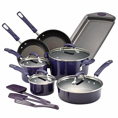 Rachael Ray Hard Porcelain Enamel Nonstick Cookware Set 14-Piece Purple Gradient