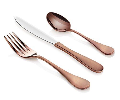 Artaste 56891 Rain 1810 Stainless Steel Flatware 36-Piece Set Antique Copper Finished Service for 12