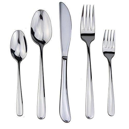 Flatware Set DEALIGHT Silverware Set 5-Piece Heavy-Duty Cutlery 1810 Stainless Steel Eating Utensils for 1 People Silver