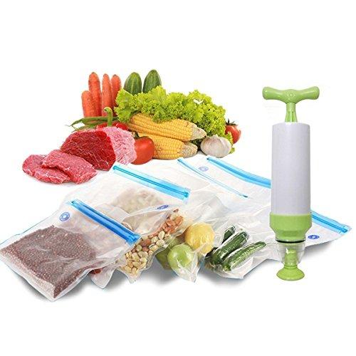 Dulcii 5PCS Vacuum Sealer  1PC Hand Pump Food Sealer Valve System Sous Vide Bags Reusable Food Saver Storage Bags for Home Kitchen Office